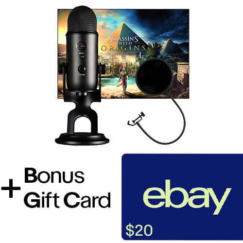 Blue Microphones Blackout Yeti with Pop Filter and Assassin's Creed Origins + $20 eBay GC $120 + free s/h