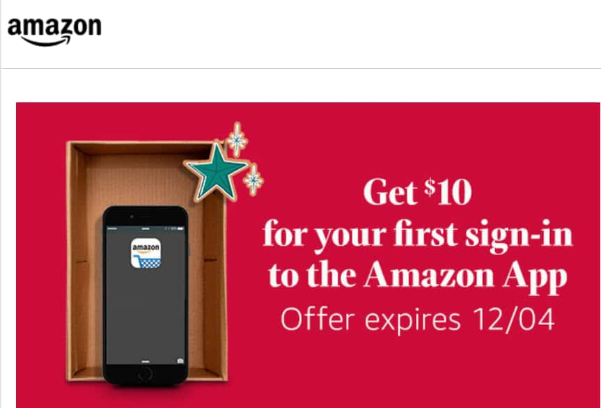 $10 off $20 Amazon coupon for FIRST sign-in with App (YMMV)