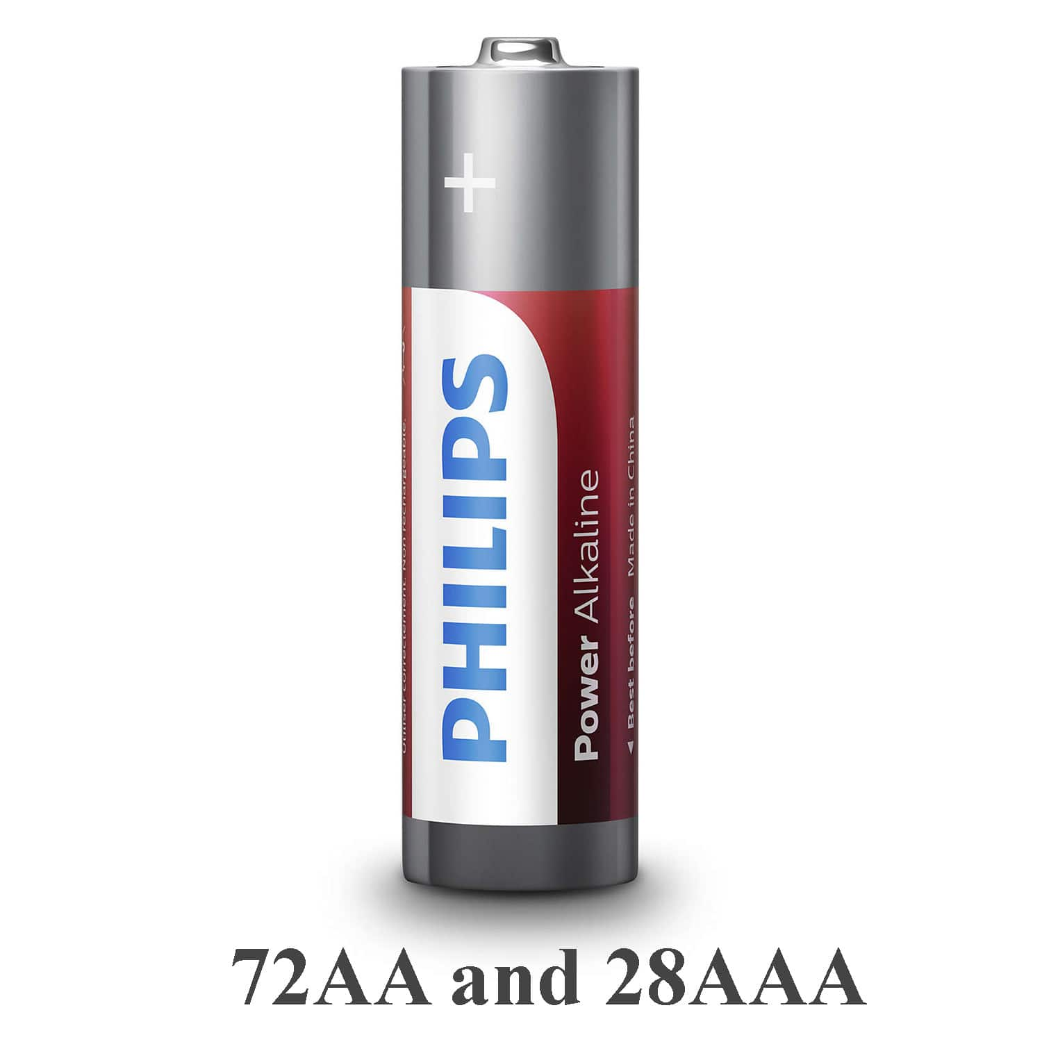 100 Pack Philips Power Alkaline Long Lasting Batteries - 72AA and 28AAA $20.79 + free s/h