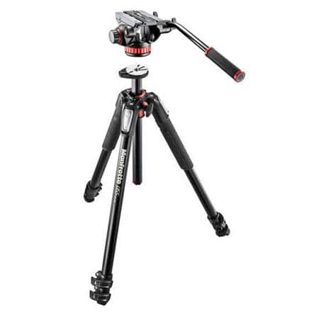 Manfrotto MT055XPRO3 3-Section Aluminum Tripod with MVH502AH Fluid Video Head $250 + free shipping