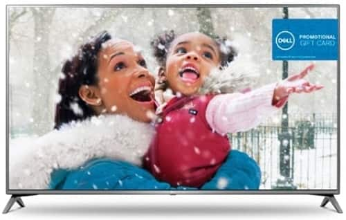 "75"" LG 75UJ6470 4K HDR Smart LED HDTV + $300 Dell E-gift Card $1497 after $200 slickdeals rebate"