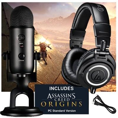 Blue Microphones Blackout Yeti Microphone w/ Audio-Technica ATH-M50X Headphone + $25 Buydig GC & Assassins Creed Origins (PC) $200