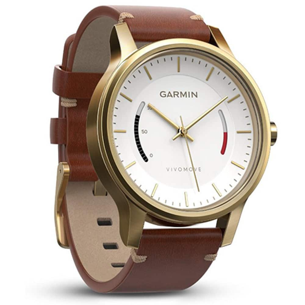 Garmin Vivomove Premium Activity Tracker (Gold-Tone Steel with Leather Band) $80 + free s/h