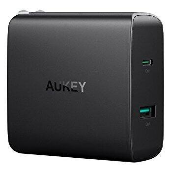 Aukey USB C Wall Charger with 46W USB-C Power Delivery 3.0 & 5V/2.1A Ports $28 + free s/h