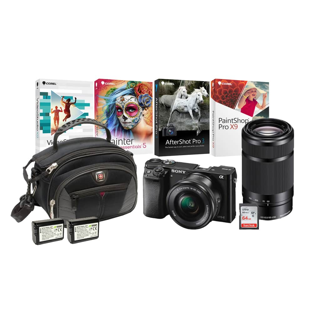 Sony a6000 + 16-50mm Lens + Focus Camera $50 gc + 64GB memory, & More $498, a6300 $848, a6500 $1298 + free s/h