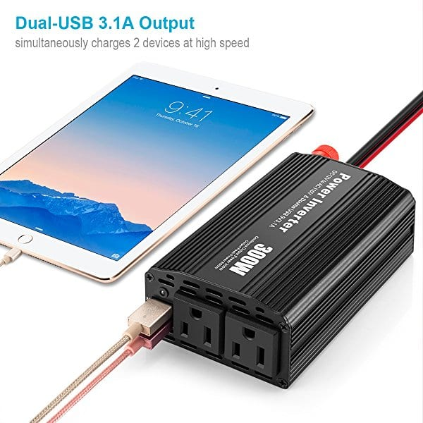 300w YINENNCar Power Inverter w/ 2 USB Ports $13.50