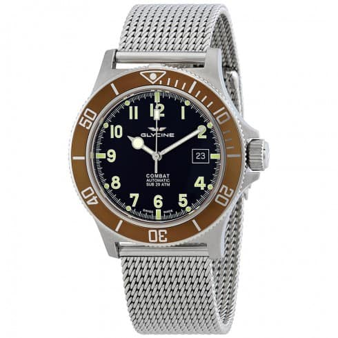 Glycine Combat Sub Automatic Watch on Mesh Bracelet $399 + free s/h