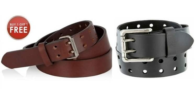 2-pack Men's Leather Double Prong Belts $9 + free s/h