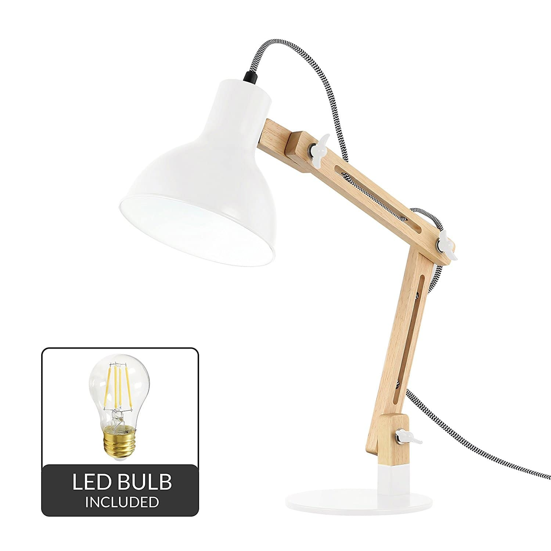 Light Society Galvan Natural Wood LED Task Table Lamp $20 + free s/h