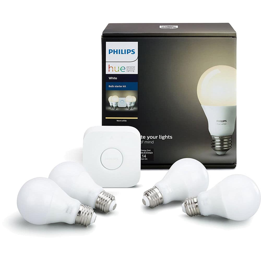 Philips Hue White A19 Starter Kit: Hue Bridge w/ 4 Hue LED Bulbs $71.20 + free s/h