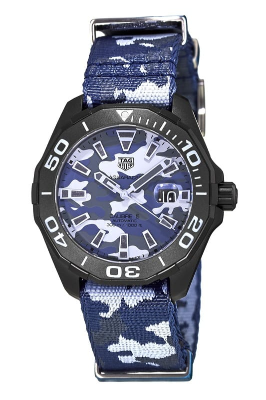 Tag Heuer Aquaracer Automatic Blue Camouflage Dial & Strap  Watch $1549 + free s/h