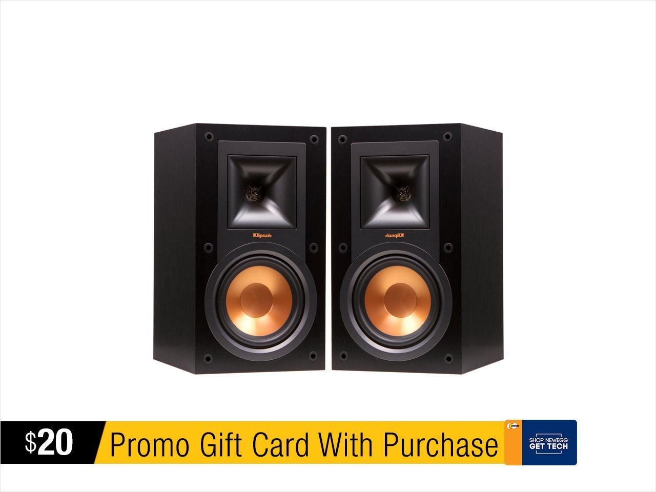 (pair) Klipsch R-15M Bookshelf Monitor Speakers + $20 Newegg E-Gift Card $124 + free s/h