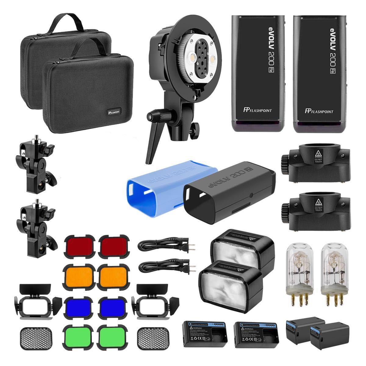 Flashpoint eVOLV 200 TTL Pocket Flash Dual Head Pro Kit $650 + free s/h