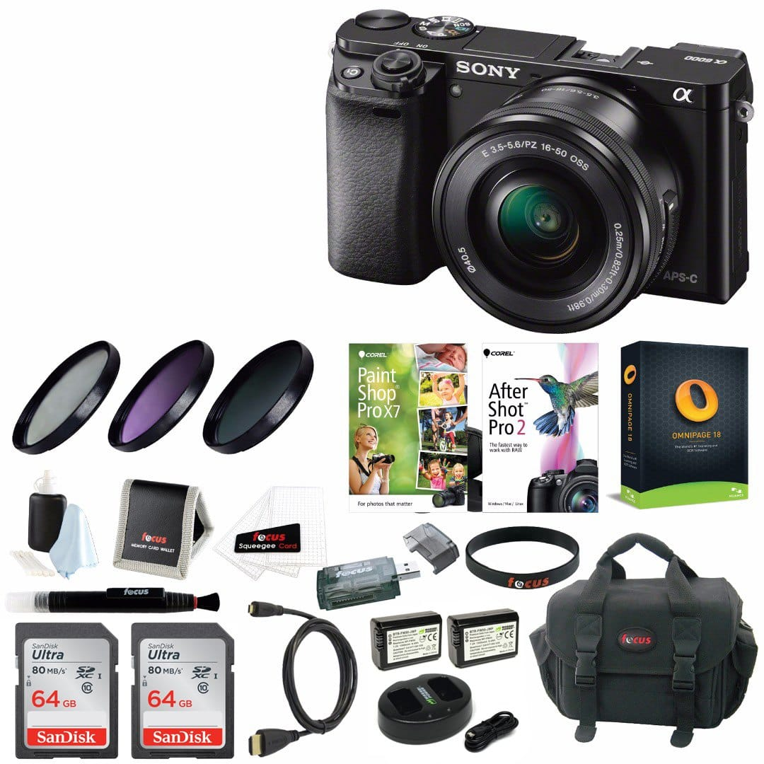 Sony a6000 Mirrorless Camera w/ 16-50mm Lens & Two 64GB SD Cards $438 + More