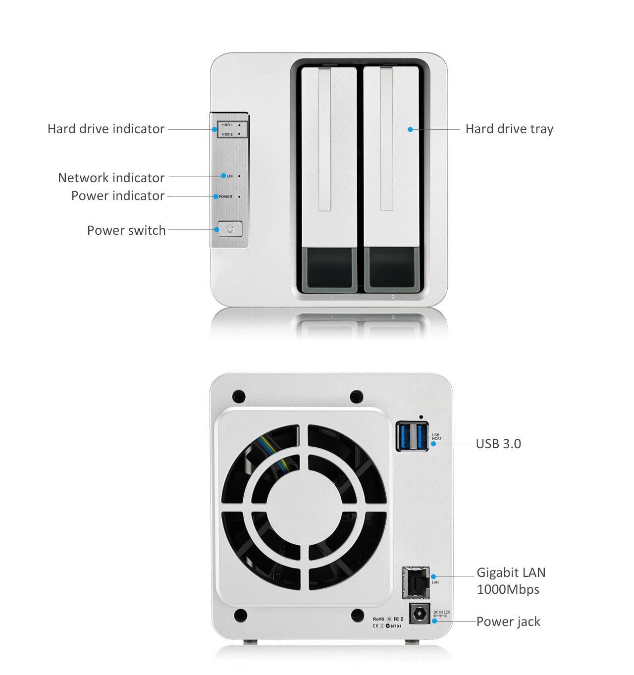 TerraMaster F2-210 2-bay NAS ARM V8 Quad Core 4K Transcoding Media Server $135 + free s/h