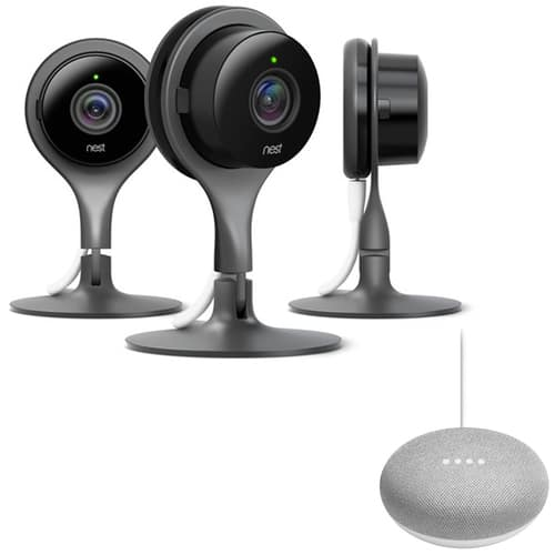 3-Pack of Nest Indoor Security Cameras + Google Home Hub +
