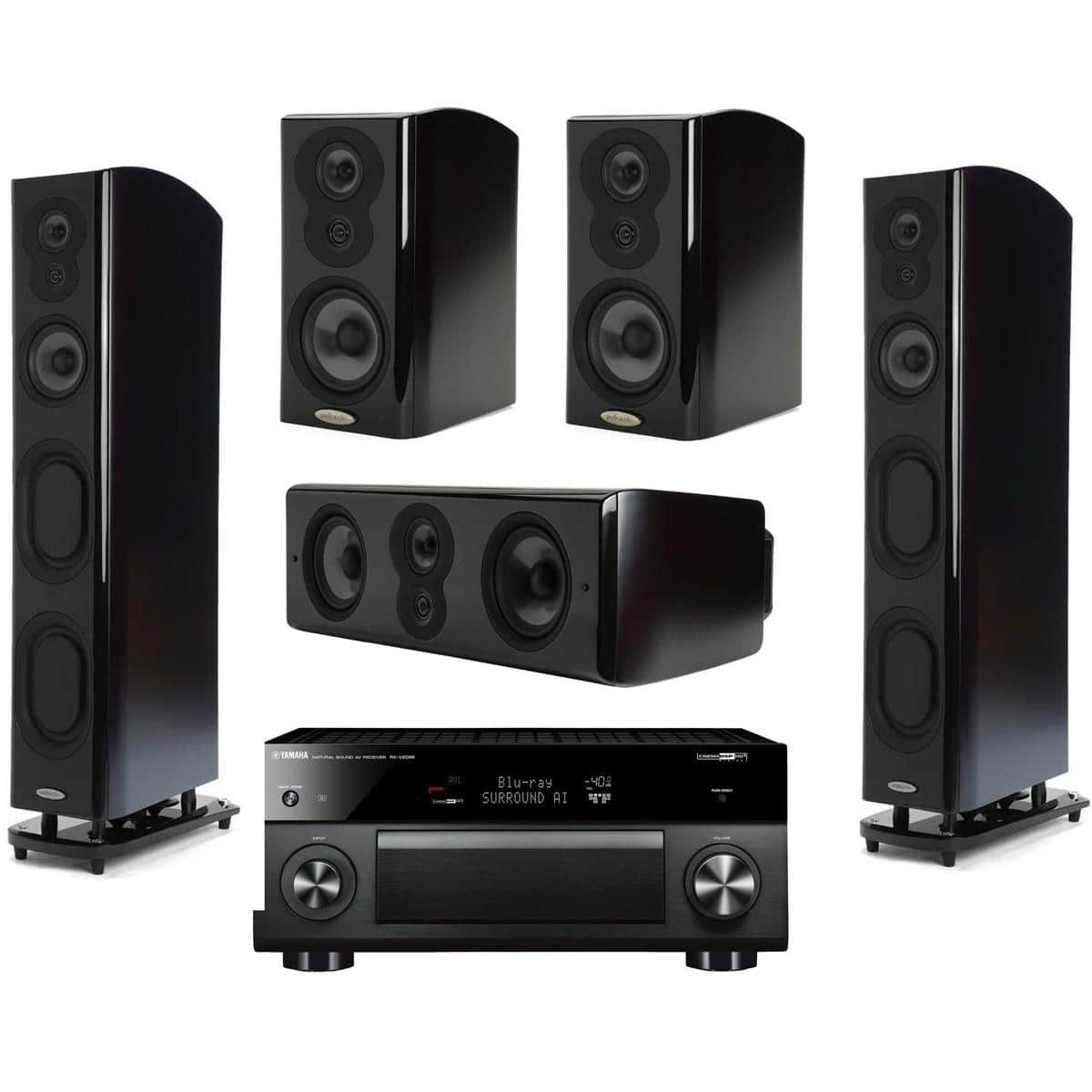 Polk LSI Speakers: 2x M707 + 2x M703 + LSi M706c + Yamaha RX-V2085BL Receiver $3199 + Free Shipping