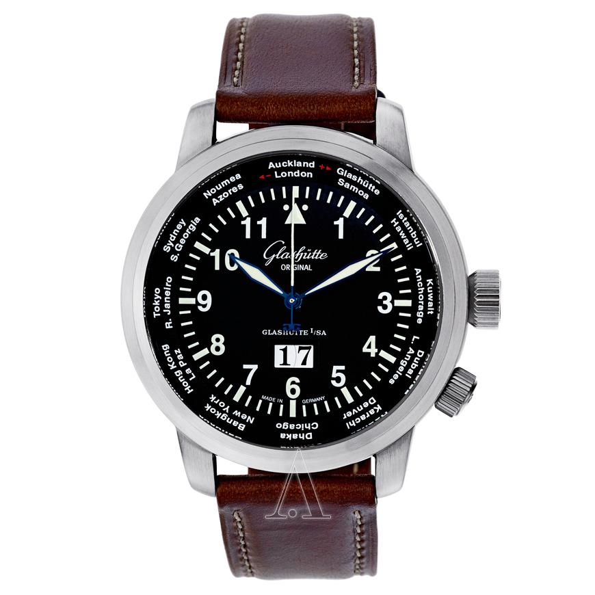 Glashutte Senator Navigator Worldview Automatic Watch $3999 + free s/h