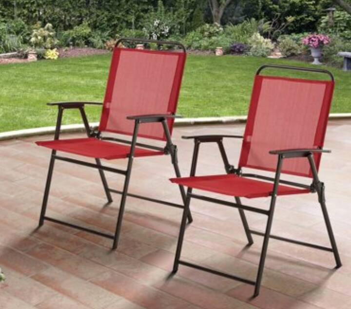 Phenomenal Mainstays Pleasant Grove Sling Folding Chair Red Bralicious Painted Fabric Chair Ideas Braliciousco