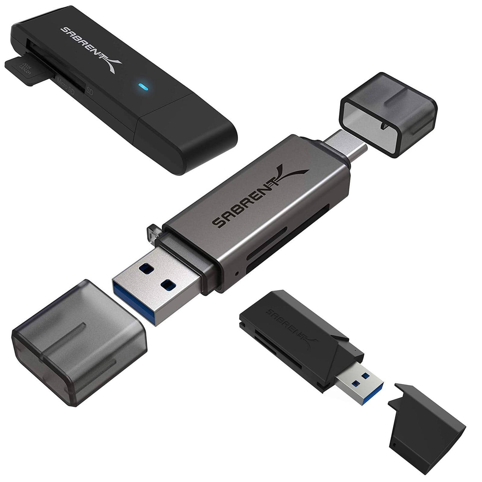 Sabrent 2-Slot USB 3.0 Flash Memory Card Reader $5, USB Type-C OTG Card Reader $7
