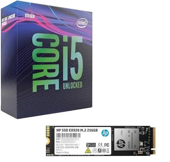 Intel i5-9600K CPU + 256GB HP EX920 M 2 NVMe SSD $261 or i7-9700K
