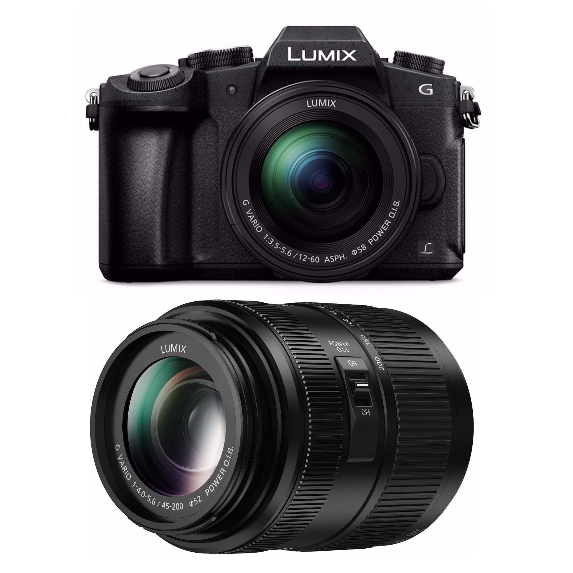 Panasonic G85 Mirrorless Camera w/ 12-60mm & 45-200mm Lenses & More
