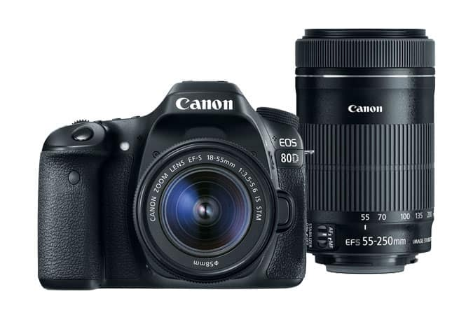 Canon 80D Camera + EF-S 18-55 Lens + 55-250 IS STM Lens (Refurb) $693 or w/ + Speedlite EL-100 Flash Free S&H