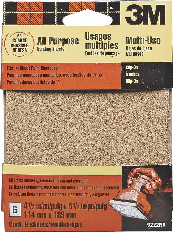 6-Ct 3M 9222NA 4.5-Inch by 5.5-Inch Clip-On Palm Sander Sheets (Coarse) $1.79 + free s/h