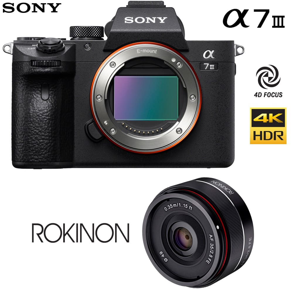 Sony a7 III Mirrorless Camera Body + Rokinon 35mm f/2.8 FE Lens $1948 or + 28-70mm Lens $2148, Body Only $1798 + free s/h