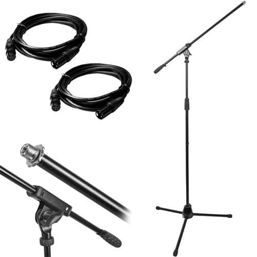 Monoprice Microphone Stand with Boom + 2x 10ft XLR Cables $19 + free s/h