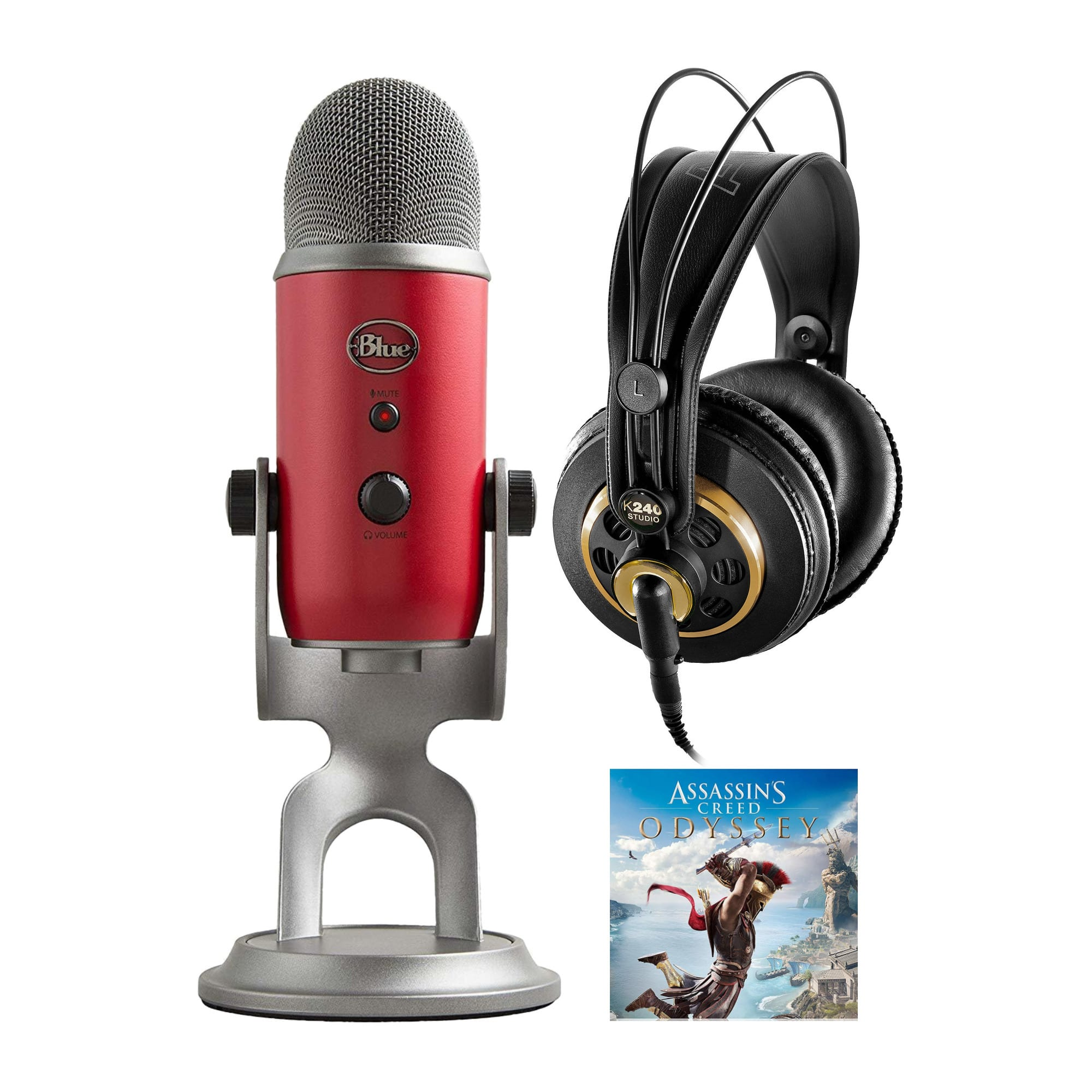 Blue Yeti USB Microphone (Red) w/ Assassin's Creed Odyssey & AKG K 240 Headphones $100 + free s/h