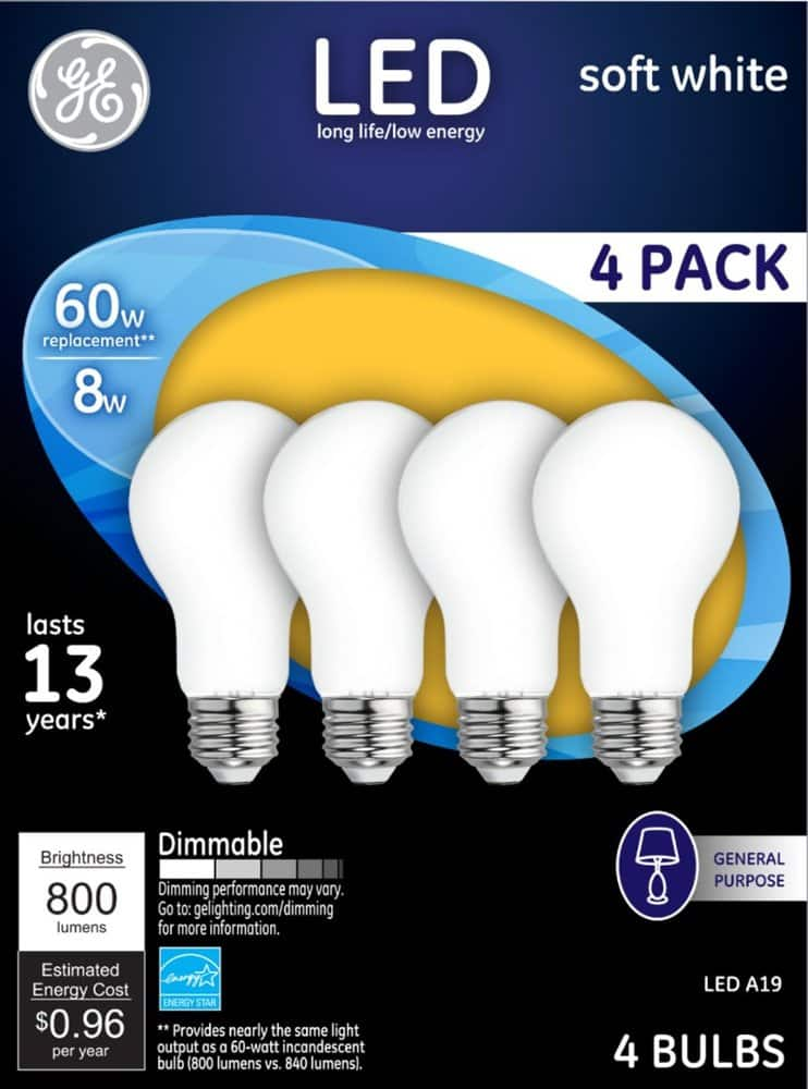 4-Pack GE 800-Lumen Dimmable A19 LED Light Bulb (Soft White)