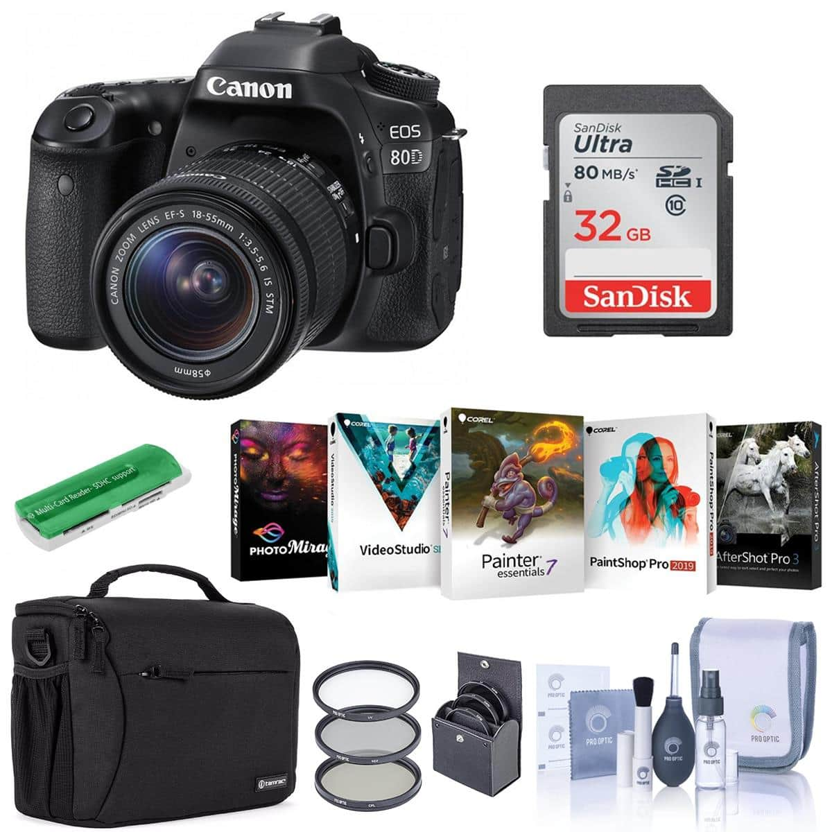 Canon: 80D DSLR with 18-55mm STM Lens $899, 18-135mm USM Lens + Rode VIDEOMIC GO $1149, 6D Mark 2 DSLR with EF 24-105mm $1599
