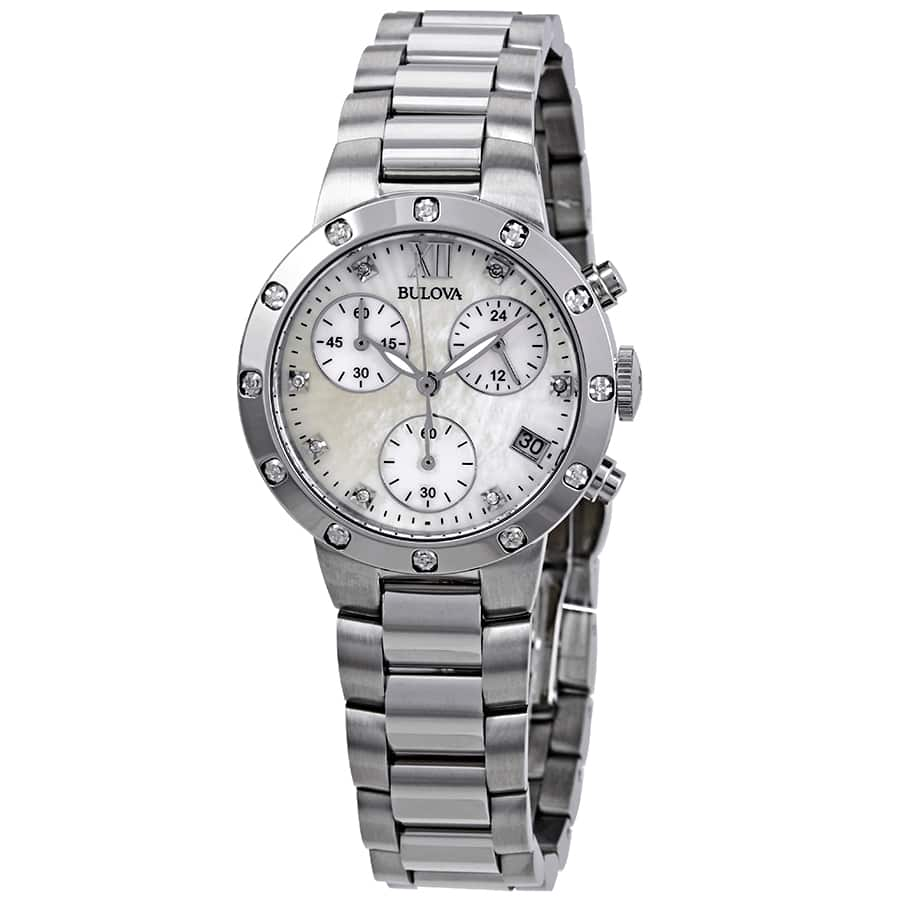 Bulova Maiden Lane Chronograph Diamond Ladies Watch on Braclet & Mother of Pearl Dial $90 + free s/h