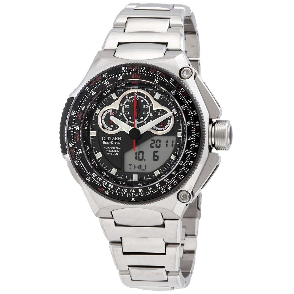 Citizen Eco-Drive Alarm Chronograph Analog-Digital Titanium Watch on Bracelet $349 + free s/h