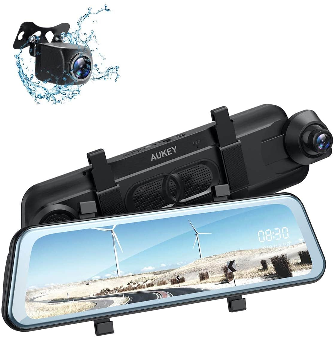 """AUKEY Backup Camera 9.66"""" IPS Touchscreen 1080p Dual Mirror Dash Cam & More $70 + free s/h"""