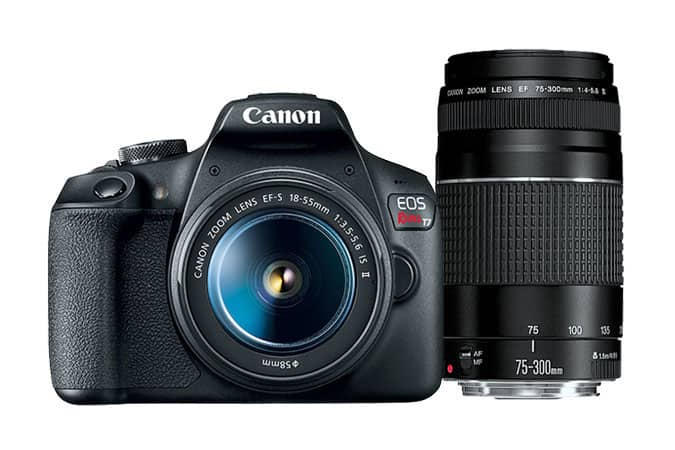 (refurb): Canon T7 EF-S + 18–55 + EF 75-300mm $242, w/i 75-300mm $236 + s/h