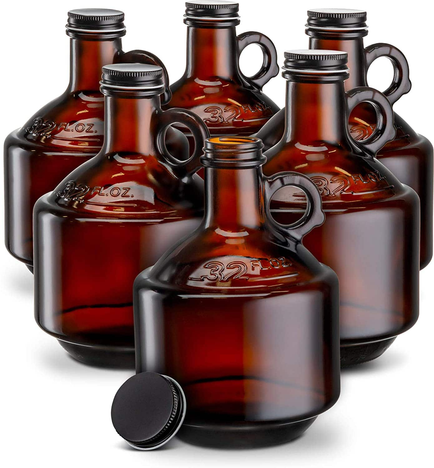 6ct of 32oz Amber Glass Bottles / Growlers w/ Black Plastisol Lined Lids $19 + free s/h