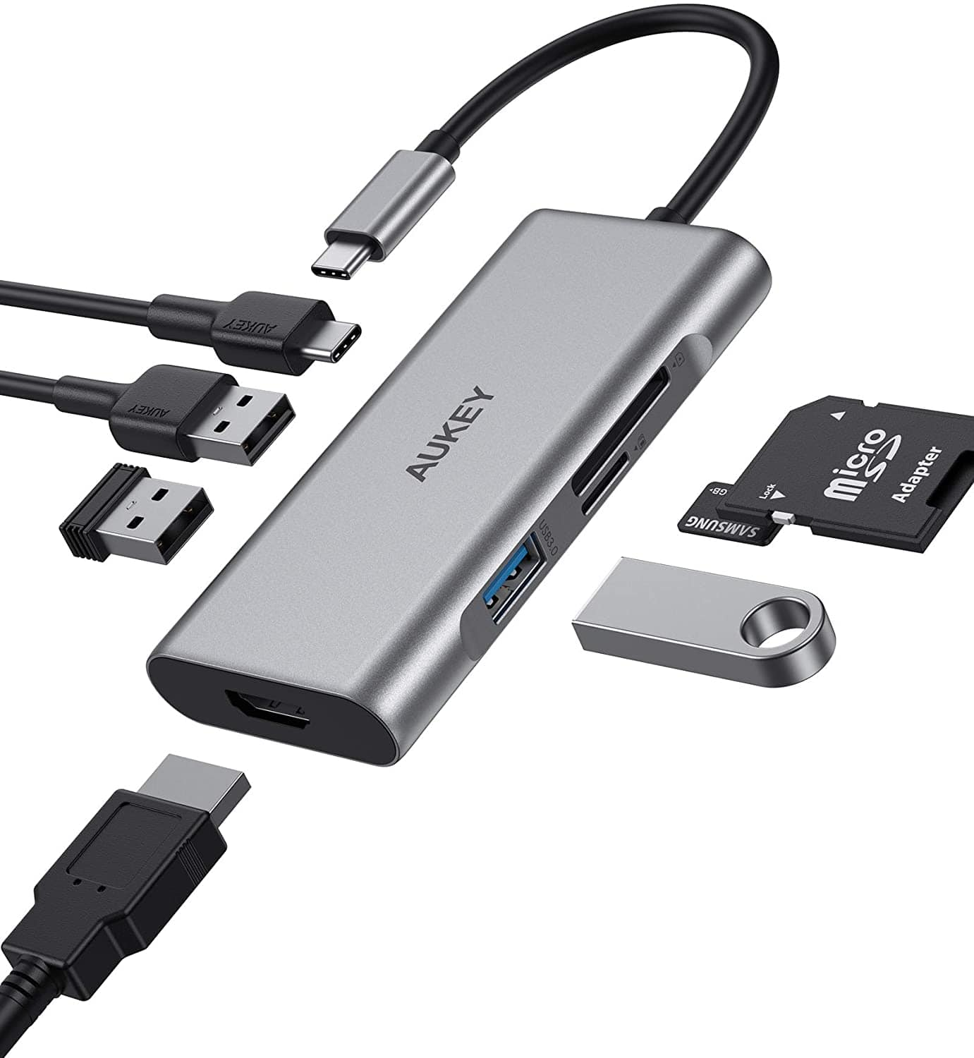 AUKEY USB C Hub 7-in-1, Type C Adapter with 100W Power Delivery, HDMI & More $18 @ Amazon