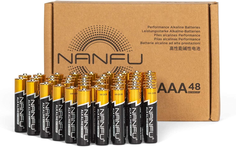 NANFU Batteries: 48-Ct AAA $12, AA $13.20, 4-Count 9 Volt $7.80 @ Amazon