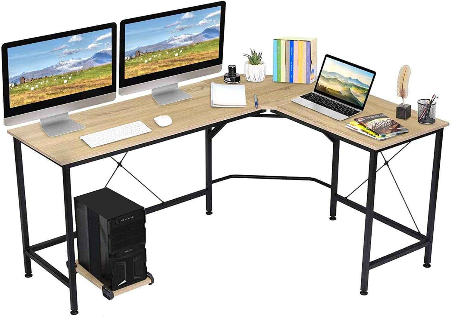 "KingSo L Shaped Computer Desk with CPU Stand (65"" x 47"" x 30) $70 + free s/h"