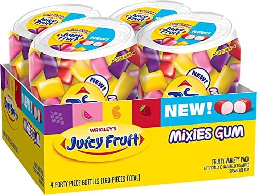 Super Gum Deal! Pack of 4 Juicy Fruit Gum Mixies Fruity Chews Sugarfree Bottles $5.40