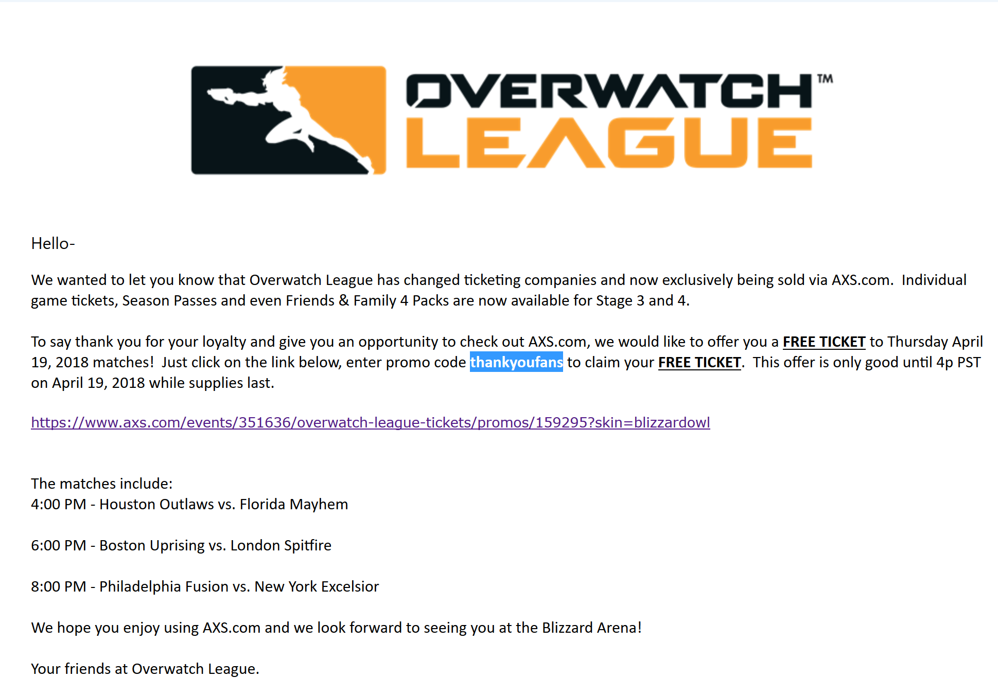 FREE Overwatch League tickets