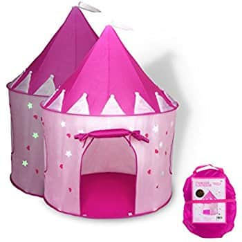 Fox Print Princess Castle Play Tent with Glow in the Dark Stars, conveniently folds in to a Carrying Case $17.40 w/Prime.