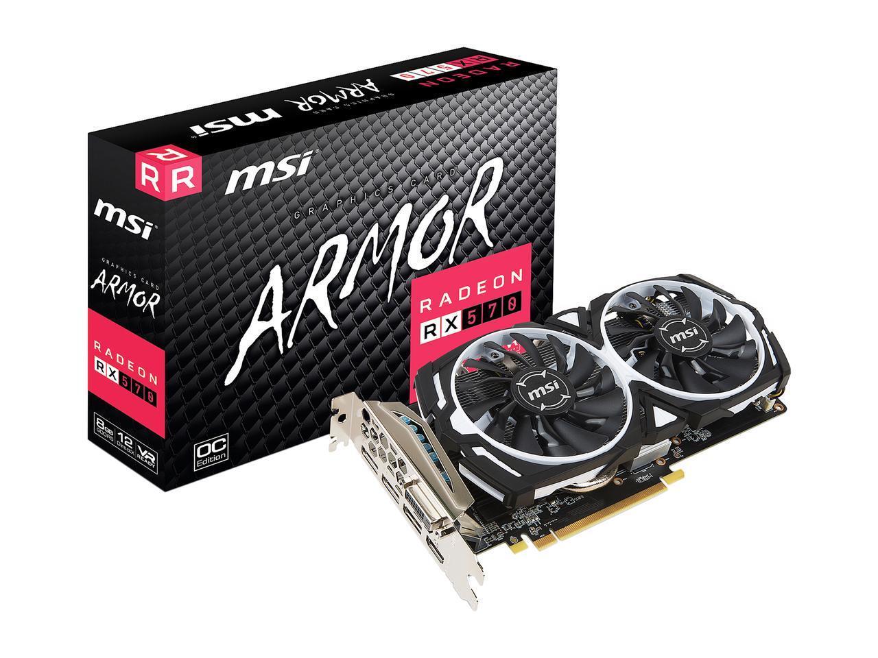 MSI Radeon RX 570 OC 8G GDDR5 PCI Express x16 Video Card - $119.99 AC/AR/FS
