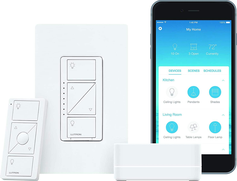 YMMV - Lutron P-BDG-PKG1W Caseta Wireless Dimmer Kit with Smart Bridge, White - $61