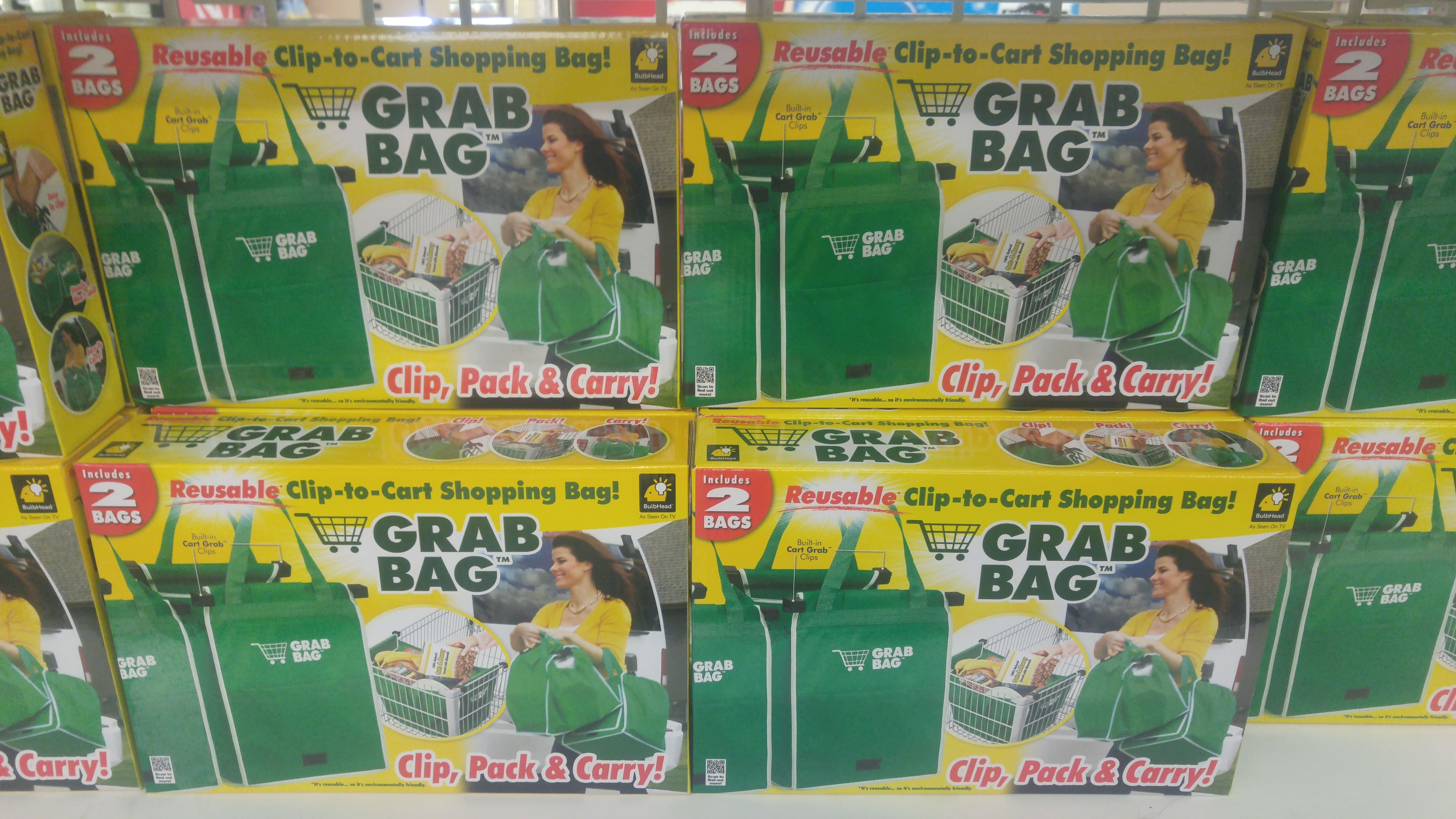 As Seen On TV Grab Bag Reusable Shopping Bags at Dollar Tree. B&M  YMMV $1.00