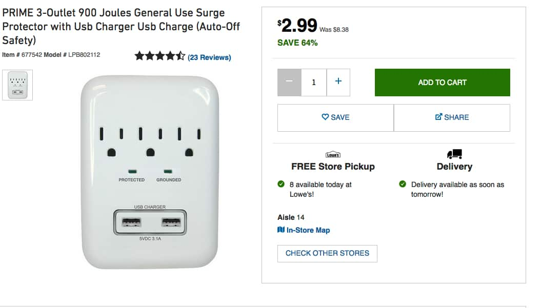 PRIME 3-Outlet 900 Joules General Use Surge Protector with Usb Charger Usb Charge (Auto-Off Safety)  $2.99 Lowes B&M YMMV