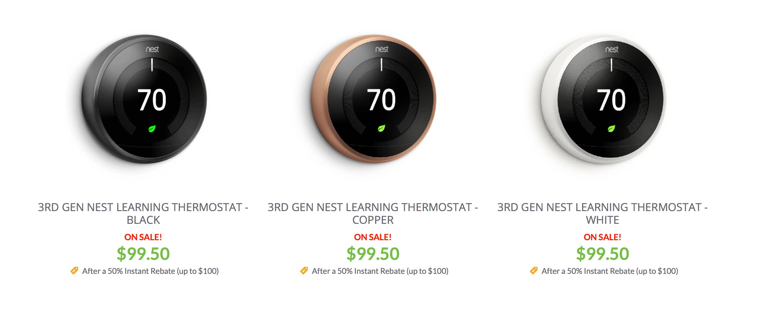 YMMV - Nest 3rd Generation Thermostats - $99 plus taxes after 50% instant rebate.