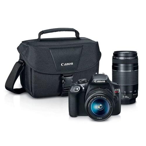 Canon EOS Rebel T6 Digital SLR Camera Kit + EF-S 18-55mm + EF 75-300mm Zoom Lenses (Black)  at Amazon $434